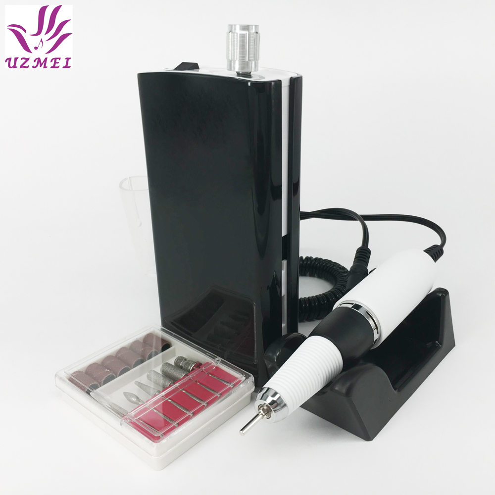 30000RPM Nail Polishing Portable Electric Nail Drill Machine Genopladelig Trådløs Manicure Pedicure Set Nail Tools