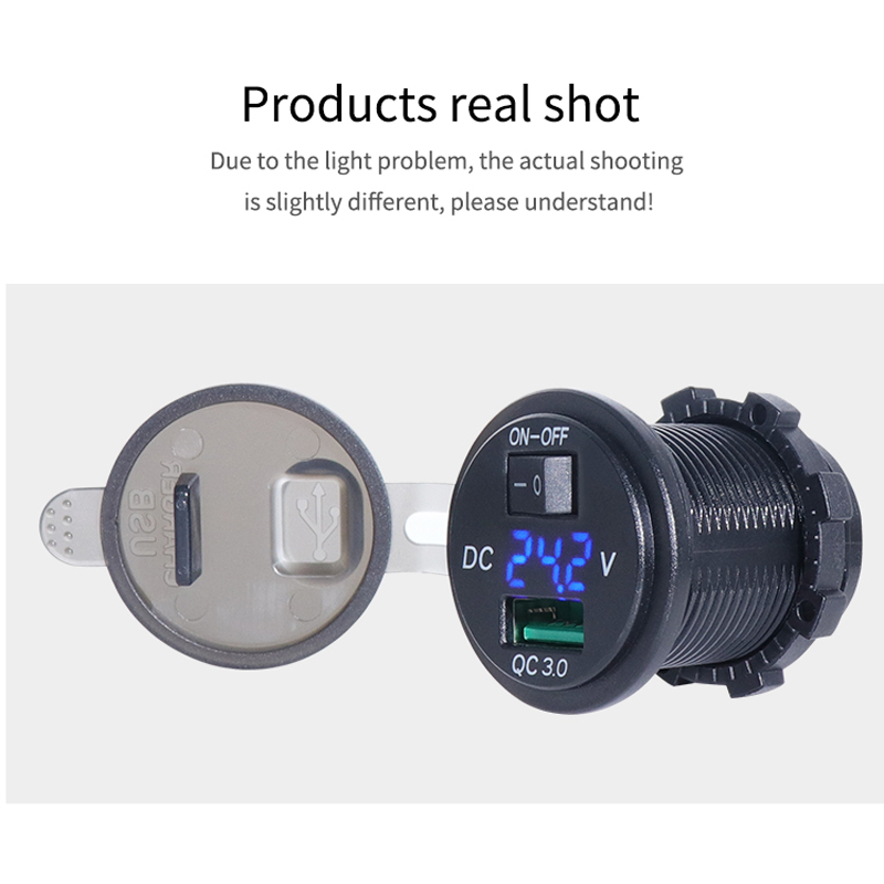 Universal 12V 24V QC3 0 USB Car Charger Switch Socket 36W USB Volt Display Quick Charge For Car Boat Motorcycle Marine ATV in Cables Adapters Sockets from Automobiles Motorcycles