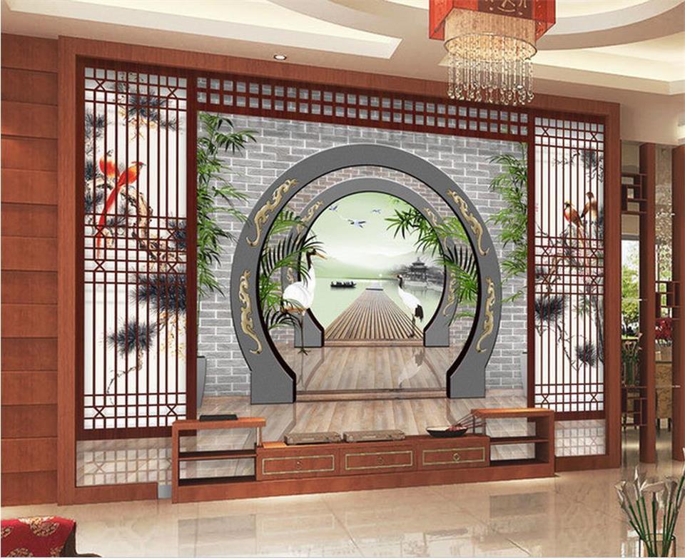 Пользовательские Настенные обои 3d фото гостиная Китайский живописный Pier мост 3D картина местный диван фоне стены нетканого росписи