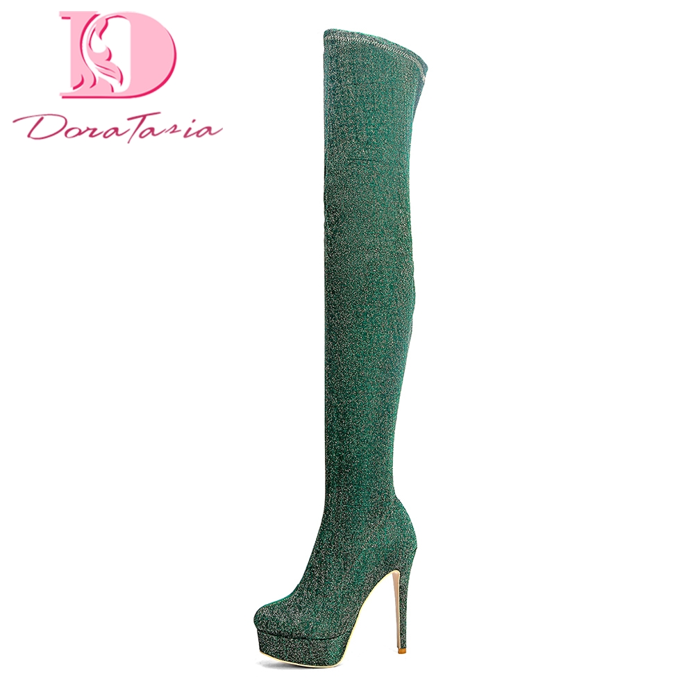 DoraTasia Brand New best Quality Plus Size 33-43 Platform Over The Knee Boots Women Shoes Thin High Heels Boots Shoes Woman doratasia brand new plus size 33 43 sexy thin high heels party winter boots women shoes fashion over the knee boots shoes woman