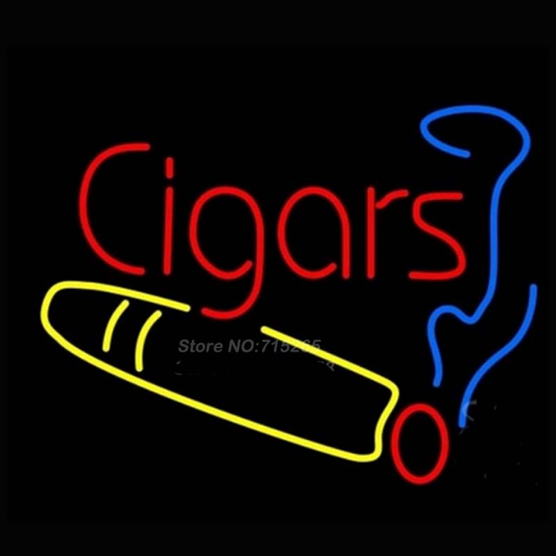 Cigars Logo Neon Sign Neon Bulbs Recreation Room Gifts Art Design LOGO Real Glass Tube Guarante Store Display Handcraft 17x14