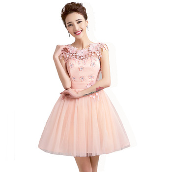 ac5db2e7eac8a New short prom dresses cheap hollow out bandage back tulle elegant pink red  champagne princess ball