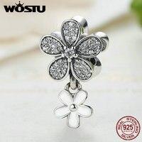 Hot Sale 925 Sterling Silver Dazzling Daisy Dangle Charm Fit Original Pandora Charm Bracelet Pendant Authentic