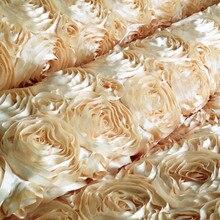 1 Meter 100*130 cm, 3D Róży Satyna Koronki Haftowane Tkaniny, Odzież Szycia Tkanki do Spódnicy, Lubu Stock Photography Łóżko Tkaniny(China (Mainland))