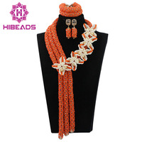 Nigerian Women Wedding Orange Crystal Flowers African Beads Jewelry Set Lady Statement Necklace Earrings Free Shipping ABL605
