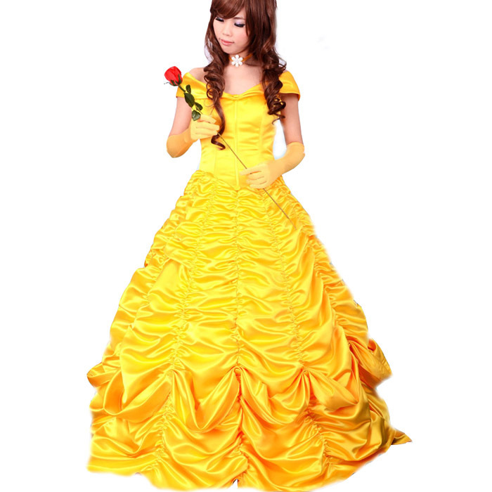 2015 Adult Princess Belle Costume Women Beauty And The Beast Cosplay