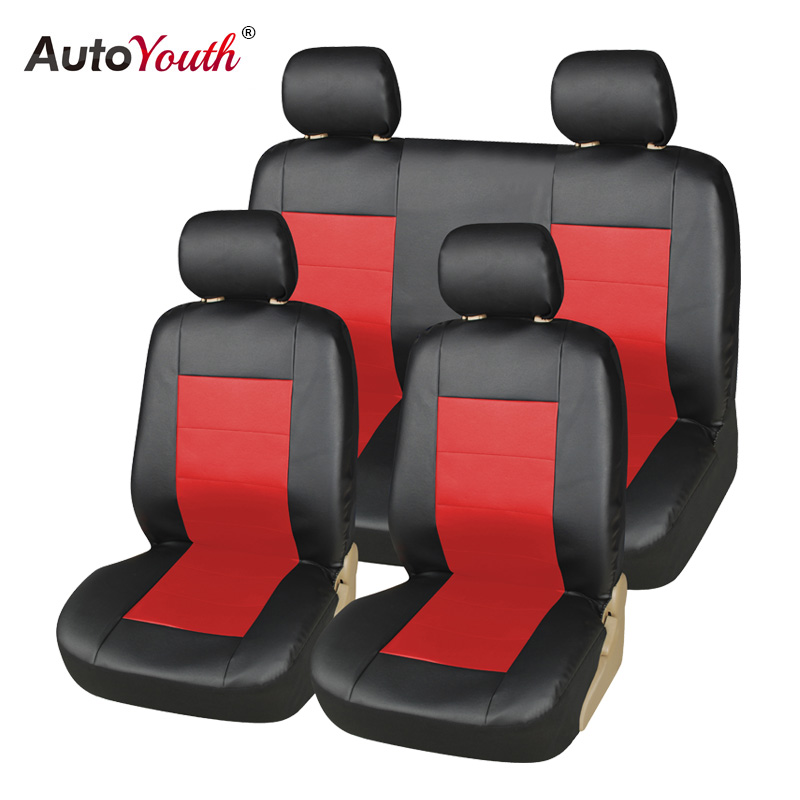 AUTOYOUTH Auto Promotion PU Front Seat Covers 2PCS Car Seat Cover Fit Detachable Headrest Nonslip Breathable Fit mazda 3 peugeot