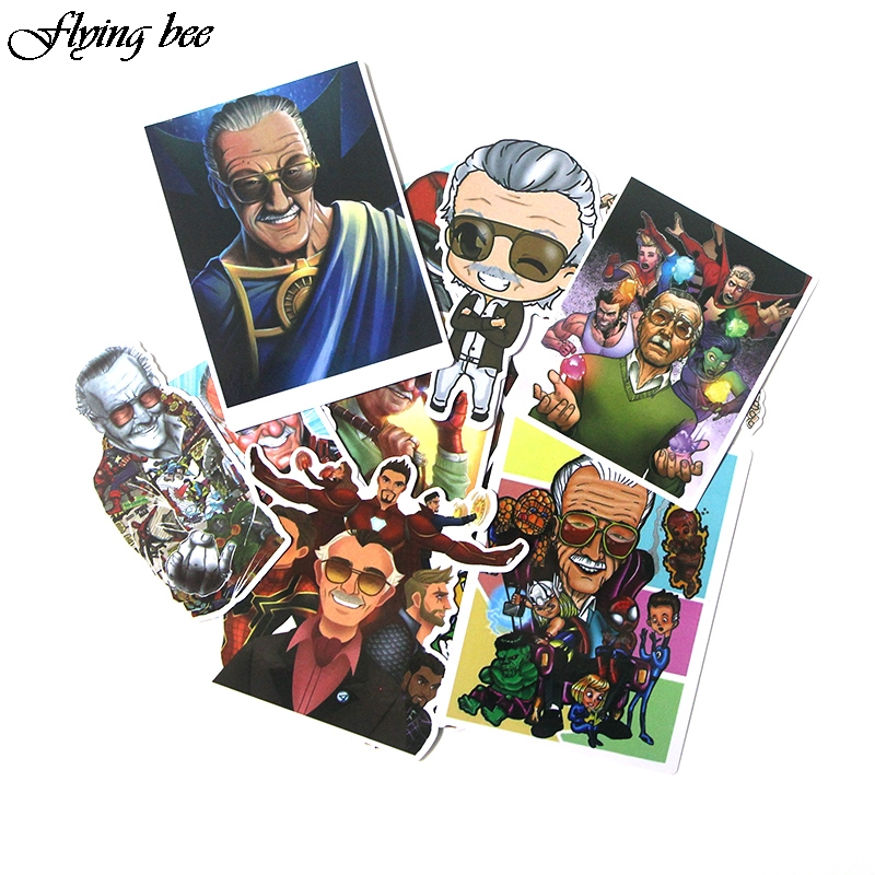 100 Sets/lot Flyingbee 15 Teile/satz Marvel Stan Lee Kühle Graffiti Aufkleber Für Diy Gepäck Skateboard Wasserdichte Aufkleber X0020 Elegant Und Anmutig