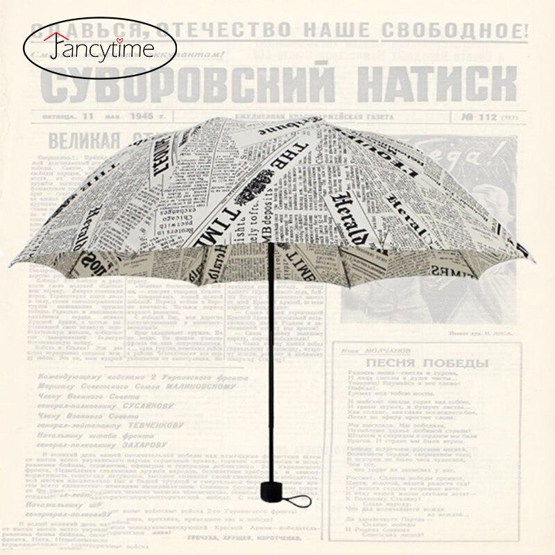 Pencil English Newspaper Folding Female Umbrellas Rain Women Umbrella Parasols Windproof Women's Umbrella Novelty for Men