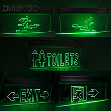 ZMISHIBO 220V 2W LED Acrylic Fire Up/Down The Stairs Emergency Light Toilet Pilot Lamp Surface Mounted Wall Fixtures CE