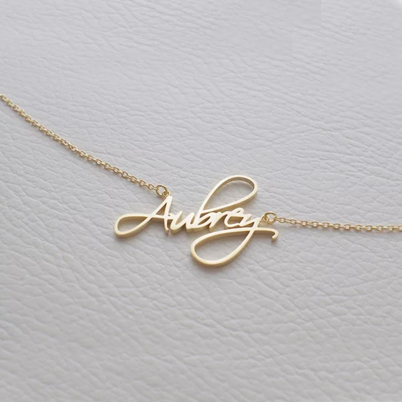 Romantic Gift Stainless Steel Custom Personalized Name Choker Gold Color Handwriting Signature Handmade Customized Necklace
