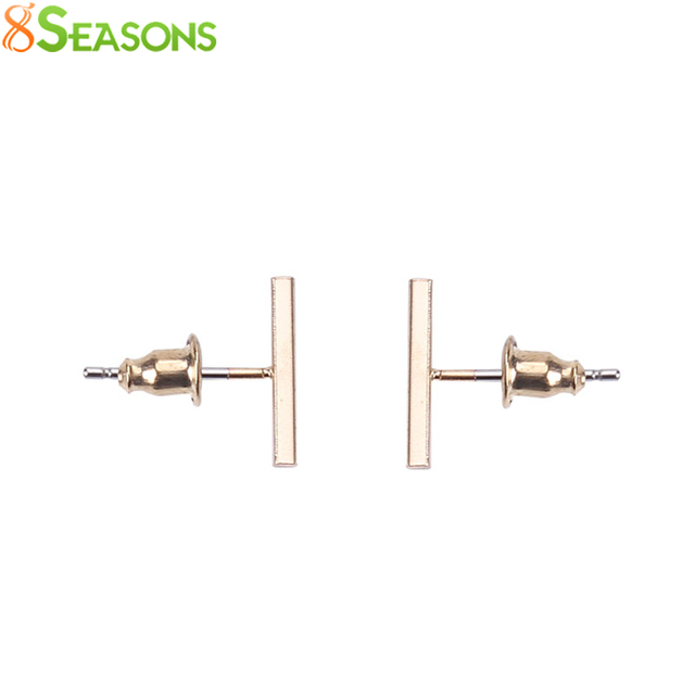 8SEASONS New Fashion Jewelry Hiphop Punk Cool Easy Clip Stud Earrings Gift Women Girl gold-color dull silver-color Black 1 Pair