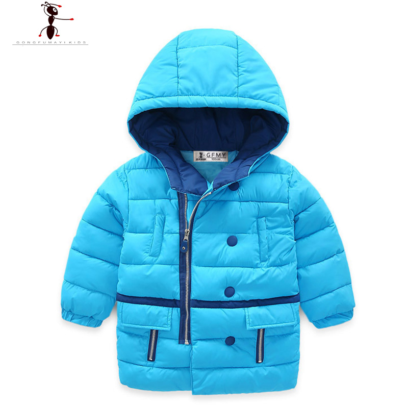 ФОТО Children's Winter Jacket Fashion Blue Gray Hooded Boys Cool 2016 High Quality Coat Infant Doudoune Winte 2531