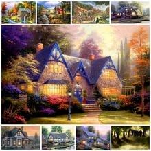 5d Diy Diamond Painting Cabin Tree Diamant Cartoon House Scape Embroidery Oil Creek Lake Home Mosaic Decor Z65