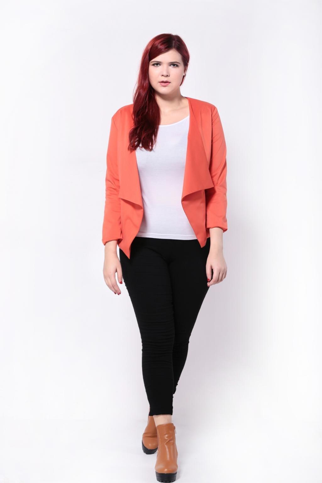 Fashion Waterfall Blazer Plus Size Women Clothing 2016 Autumn Jacket ... a58e46546604