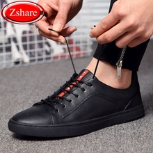 Genuine Leather Men Shoes 2019 Fashion Handmade Top Quality Men Moccasins Male Casual Shoes Zapatos Hombre Lace-Up Black Flats