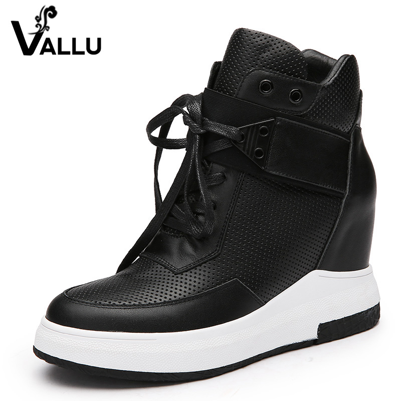 2018 Women Warm Boots Genuine Leather Height Increasing Cut Out Flat Platform Short Plush Women Ankle