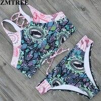 ZMTREE 2017 New High Neck Bikini Sexy Women Swimsuit Bandeau Brazilian Swimwear Vintage Print Back Wear