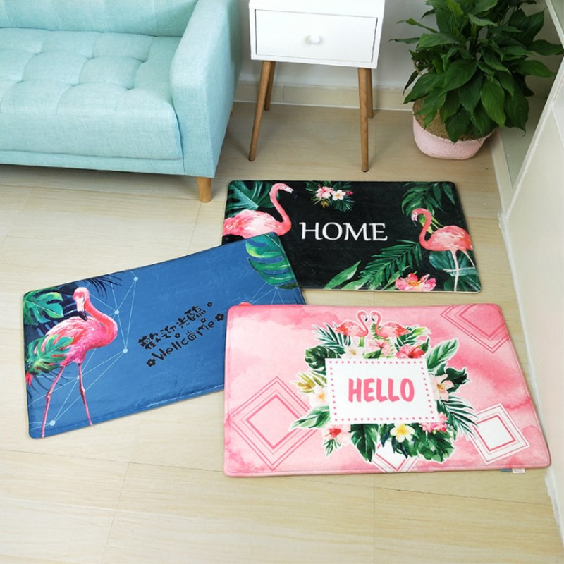 Nordic INS Style Printed Door Mat Bathroom Pink Bird Cartoon Carpet Plant Bedroom Bed Covered With Blanket