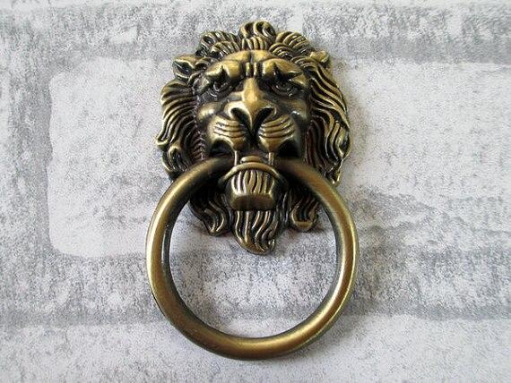 Large Lion Drawer Pull Handles Dresser Drop Pulls Rings / Antique Bronze Lion  Head Door Knocker - Large Lion Drawer Pull Handles Dresser Drop Pulls Rings / Antique