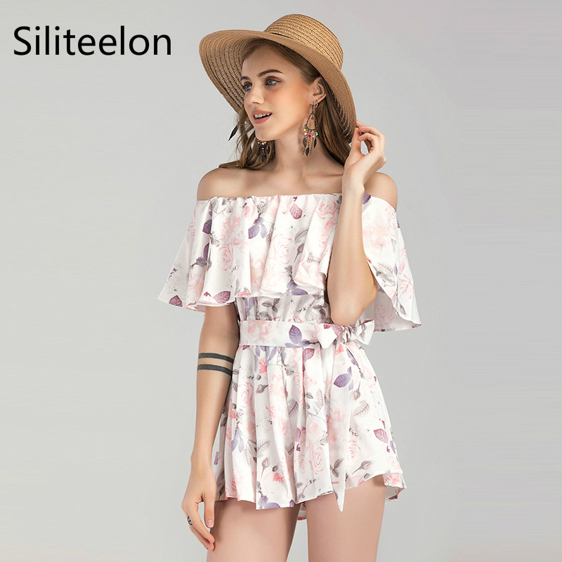 Floral jumpsuit. 2018 new summer word shoulder jumpsuit.loose and comfortable holiday style