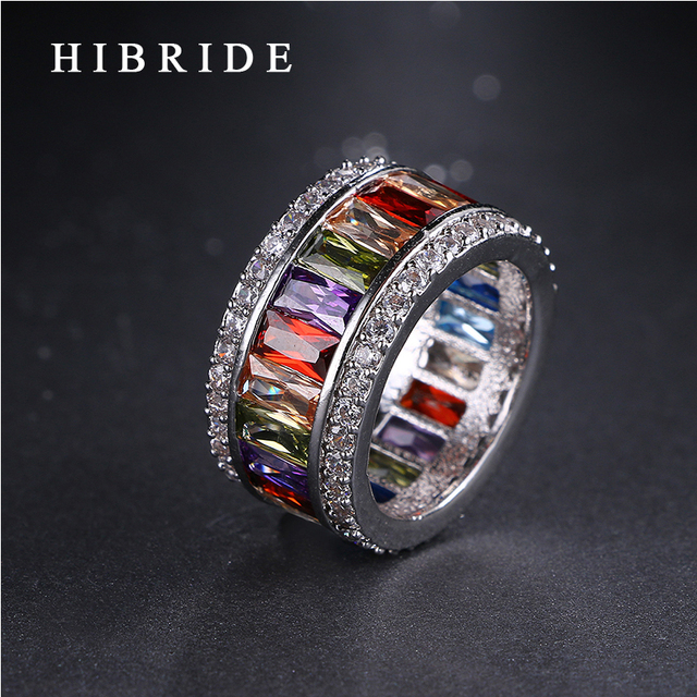 97844a440597b HIBRIDE Luxury 6 7 8 9 Size Rainbow Cubic Zirconia Finger Women Men Ring  Top Rhodium Plated Rings For Party Gifts QSP0010-19