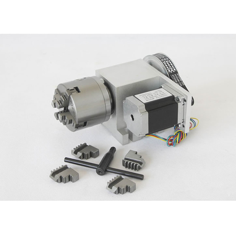 Nema 34 stepper motor (6:1) K12-100mm 4 Jaw Chuck 100mm CNC 4th axis A aixs rotary axis + tailstock for cnc router cnc milling machine part rotational a axis 80mm 3 jaw chuck