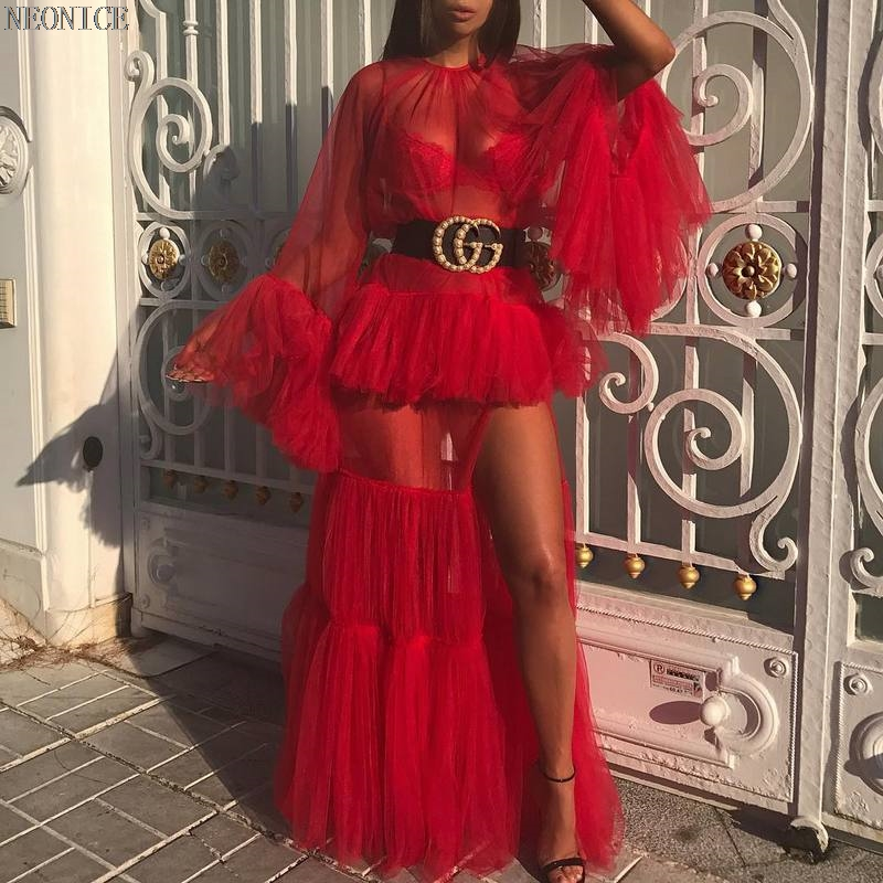Se Femme Kaki Partie Fête 2018 Ouvert Volants Discothèque Mesh Nouvelle Kaki De À Casual D'anniversaire rouge Rouge Sexy Robe Mode Termine AdwwOqU