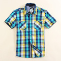 2016 Fashion Men casual vintage check 100% cotton male short-sleeve shirt Russia Size S/M/L/XL High Quality
