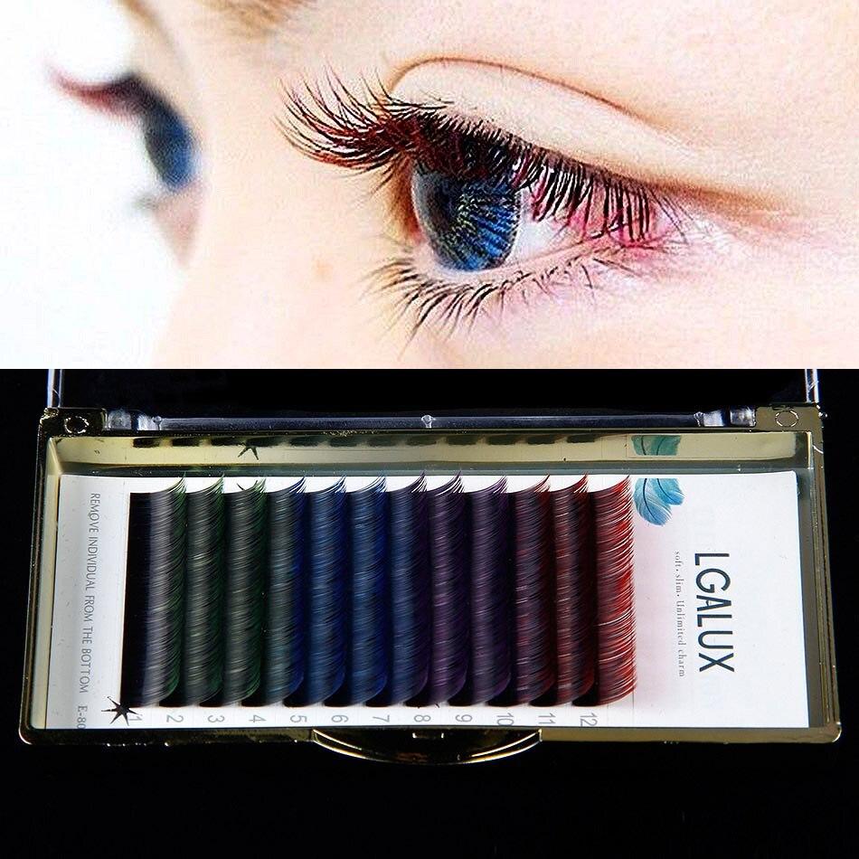 executando cilios individuais extensao dos cilios 4 cores mix maquiagem cilios posticos cor festa cilios falsos