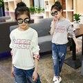 Meninas t shirts tops roupas tshirt camisas dos miúdos t-shirt da menina crianças de algodão primavera outono 2017 nova moda para 3 ~ 14 anos MC106