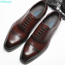 New Handmade Mens Oxford Shoes high quality Genuine Calf Leather Wedding Shoe Male Formal Office dress shoes
