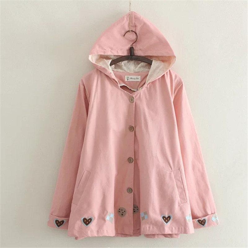MERRY PRETTY 2017 Autumn Women   Basic     Jacket   Pocket Button Hooded Heart Embroidery Cotton Outwear Loose Pink Coats Girls   Jackets