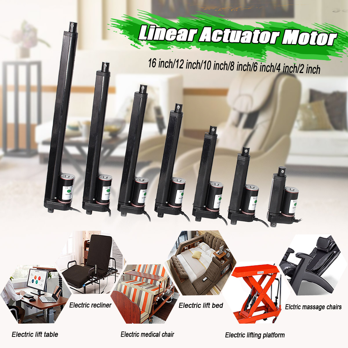12V Heavy   750N 2-16 Inch 50-400MM Stroke Electric Linear Actuator Motor Lifting Tools DC Motor Excellent Workmanship