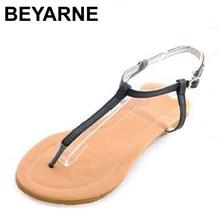 BEYARNE New Roman Flat Sandals For Women Sandals Summer Black White Sweet Ladies Fashon Leisure Shoes