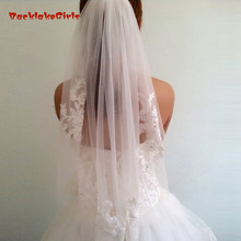 Soft Tulle New Arrival Beading 2018 Waist-Length Veil Short Fingertip Wedding Veil Bridal Accessories With Comb Voile Mariage
