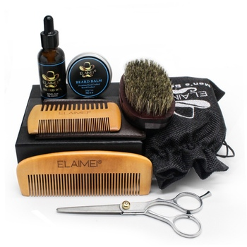 Beard Hair Care Set Beard Oil Comb Brush Whiskers Scissor Styling Tools Kit Easy to use One Set for Men 5