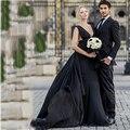 Fashion Forward Black Wedding Dress Sheer Long Formal Bridal Dresses Deep V Russia Women Long Chiffon Wedding Dresses 2017