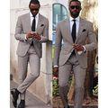 2016 Classic Plaid Men Suits Estilo 2 Botones Smokinges Del Novio de Solapa de Pico Padrinos de Boda de Los Hombres Mejor Juego del Hombre (Jacket + Pants + Tie)