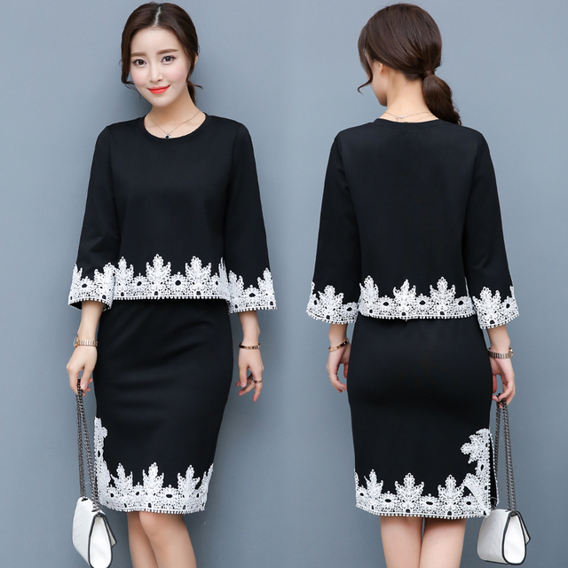 Us 39 88 A Woman Blouse Set Sexy Lace Embroidery New 2018 Spring Fashion Suits Lace Skirts Bodycon Skirt Korean Style Black Red In Women S Sets