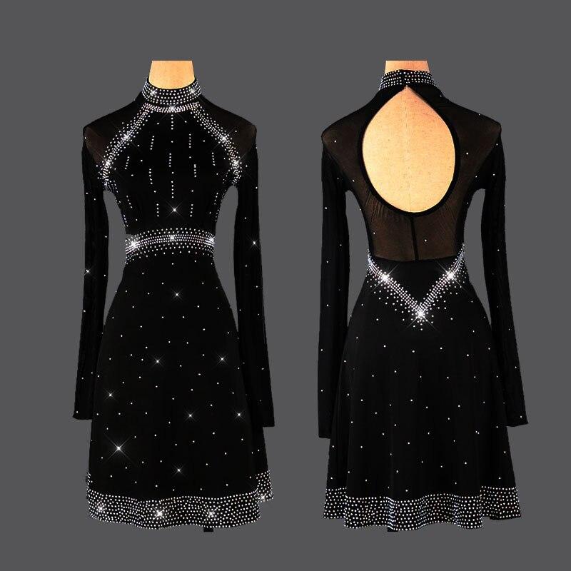 Robe à manches longues en strass pour femmes robe latine en dentelle noire femme discothèque fête compétition professionnelle robe de danse VDB117