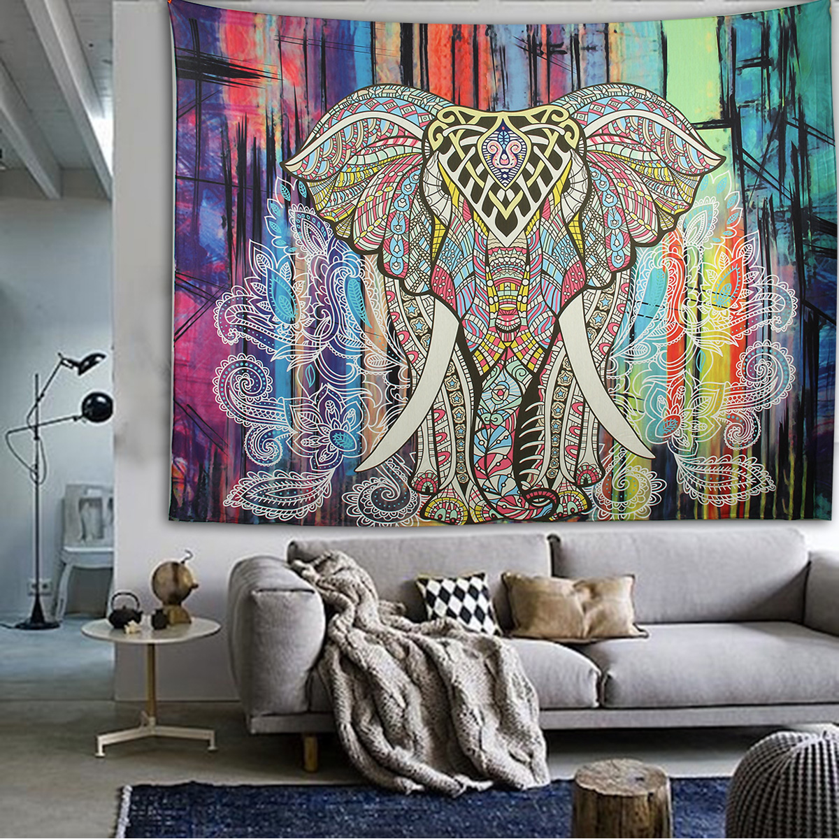 Elephant Mandala Tapestry Throw Towel Hippie Tapestry Floral Printed Home Decor Wall Tapestries Bedspread 210*150CM 12
