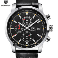 BENYAR Watches Top Luxury Mens Multifunction Wristwatches Men Sports Military Clock Male Chronograph Quartz Watch Reloj