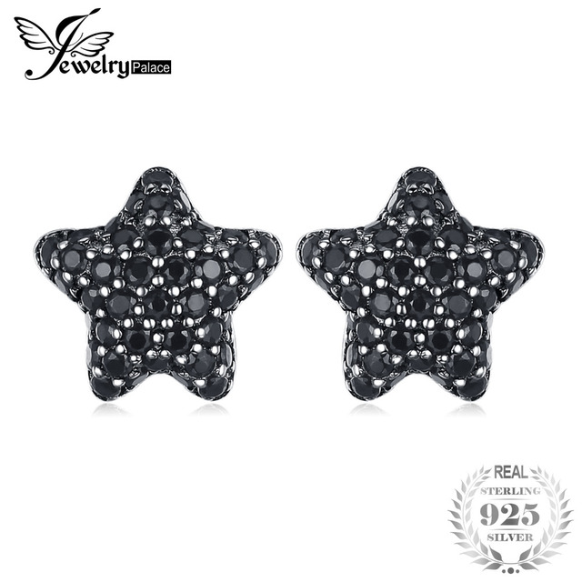 JewelryPalace Star Genuine Spinel Pave Stud Earrings 925 Sterling Silver for Wom