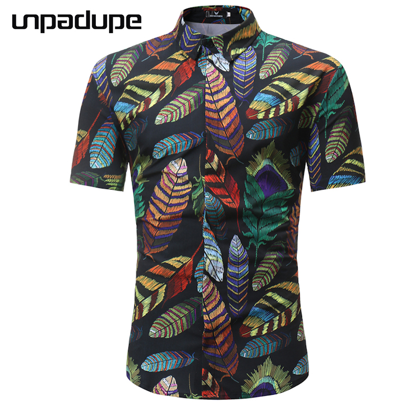 High Quality 2018 Fashion Fit Mens Cotton Short Sleeve Hawaiian Shirt Summer Casual Floral Shirts Men Plus Size Tops M-3XL