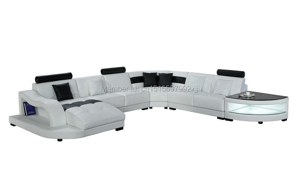White Color With Led Light Big Size U Shape Modern Design Leather Corner Sofa Sizecm