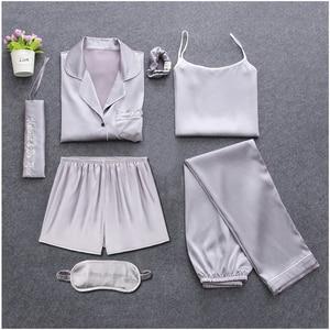 Image 3 - Sexy 7 Stück Pyjamas Sets Frühling Schlaf Anzüge Frauen Weiche Süße Nette Nachtwäsche Geschenk Hause Kleidung Frauen Pyjamas Nachtwäsche Pijama