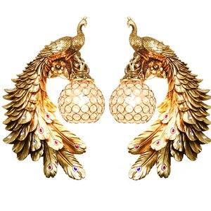 Image 2 - Modern Twins Tavuskuşu Duvar Lambası Yaratıcı Renkli Altın Beyaz Tavuskuşu Işık LED Kristal Metal Duvar Lambası Yemek Odası Koridor