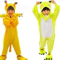 Poke lun Pika chu Onesie Pyjamas Bébé Dors Anime Cosplay Costumes Grenouille Salopette Pyjamas En Flanelle Animaux Kid Accueil de Nuit