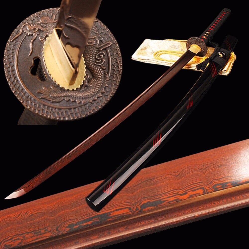 SHI JIAN Červený Japonský Samurai Katana Meč Damašek Skládaný ocelový čepel Řezací postup Ostrý meč Plný Tang Iaido Vlak Espada